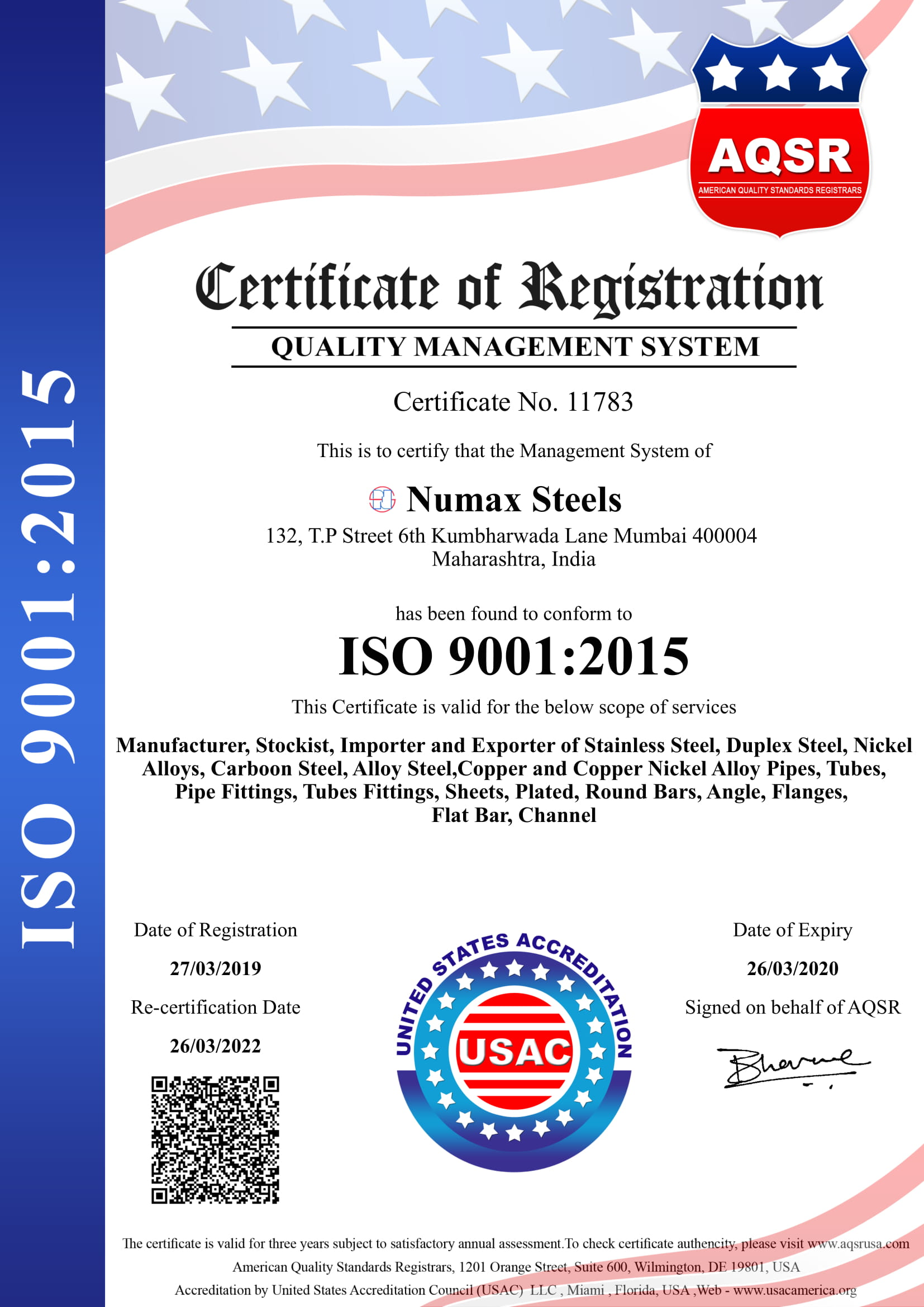 Numax Steels 9001